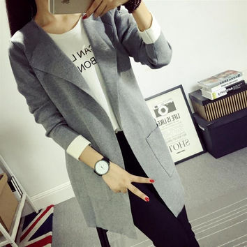 New arrival 2016 fashion autumn knitted medium- long-sleeve cardigan top outerwear solid color women's