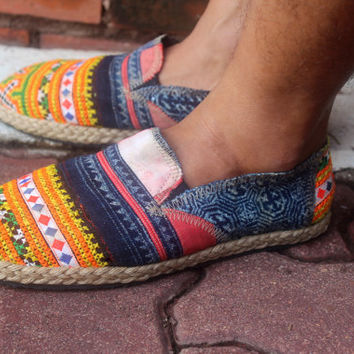 Mens Shoes in Ethnic Hmong Embroidery and Indigo Batik Vegan Loafer