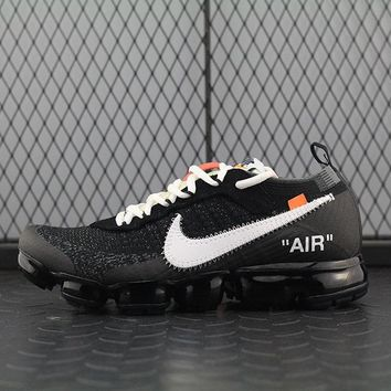 Nike Air 2018 Off-White × Vapormax For Women Men Running Sport Casual Shoes Sneakers Black