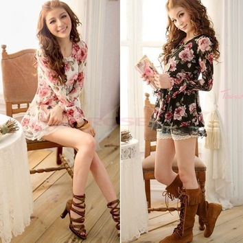 Women EA77 New Long Sleeve Lace Rose Flower Shirts Blouses Prints Casual Tops 5192 One Size = 1745707012