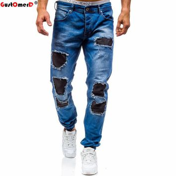 GustOmerD New Men Denim Jeans Fashion Autumn Winter Men's Casual Stretch Skinny Jeans Trousers Man Hip Hop  Washed Ripped Jeans