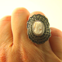 Deco Cameo Marcasite Ring - Sterling Silver - Vintage