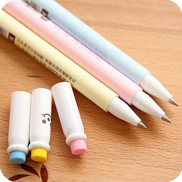 Colourful Gel Ink Pen Erasable Cute Smile Design Office Supplies Writing