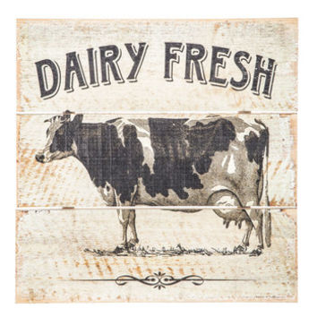 Dairy Fresh Cow Wood Wall Decor | Hobby Lobby | 1458256