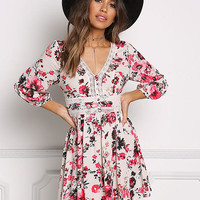 Multi Floral Gauze Flared Dress