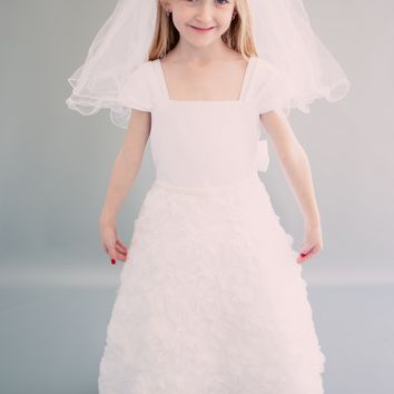 Organza Ribbon Flowers & Matte Satin First Holy Communion Dress in White or Ivory (Girls Sizes 6 to 14)
