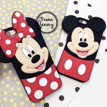 2016 Couple BBF case For iPhone 7 7plus 6 6s 6plus 6splus Minnie Mickey Mouse Silicon Rubber Cases Back Cover Soft Free SHIPPING