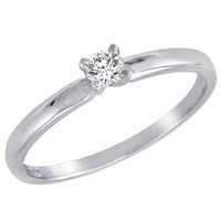 Round Diamond Solitaire Engagement Ring in 14K Gold