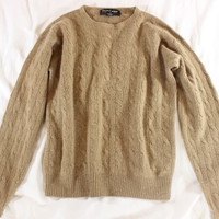 "~~~ COZY LUXE! ~~~ $900 RALPH LAUREN CAMEL ""CABLE KNIT"" CASHMERE SWEATER ~~~ M/L"