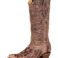 Corral Women's Tobacco With Chocolate Caiman Inlay Boot - A1232