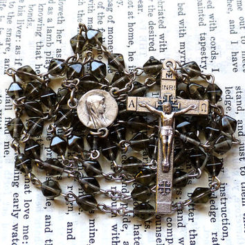 Jerusalem Rosary - Crusader Cross Rosary, Catholic, Faceted Black Czech Glass Beads