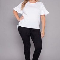 Plus Size Ruffle Sleeved Stretch Blouse - White