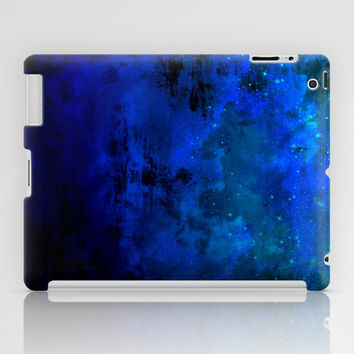 SECOND STAR TO THE RIGHT Rich Indigo Navy Blue Starry Night Sky Galaxy Clouds Fantasy Abstract Art iPad Case by EbiEmporium