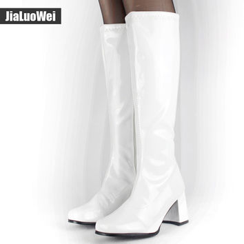 jialuowei Halloween costumes White 1960s Go Go Ladies Retro Boots For Women Knee High Boots 60s 70s Fancy Dress Party Plus size