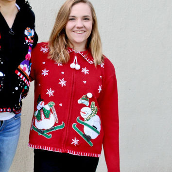 Ski Jumping Snowmen Tacky Ugly Christmas Sweater