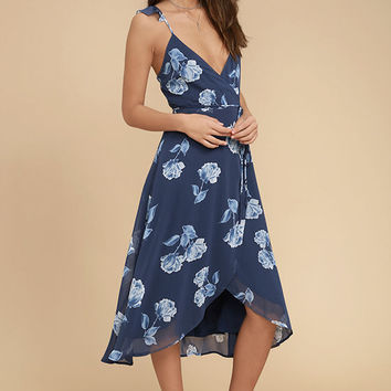 One Desire Navy Blue Floral Print Wrap Dress