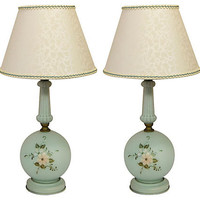 Blue Painted Glass Lamps