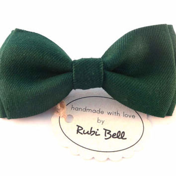 Forest green linen bow tie, green bow tie, bow ties for men, wedding bow tie, mens necktie