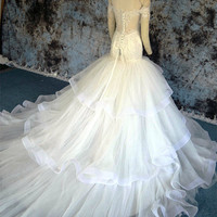 Bateau Off-shoulder Lace Bodice Mermaid Wedding Dress with Horsehair Hem Lace-up Bridal Gown