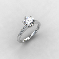 White sapphire ring, Diamond, engagement ring, white gold, diamond engagement, sapphire, solitaire, vintage style