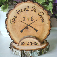 Rustic Wedding Cake Topper Hunt Hunting Wood Burned Guns Customized