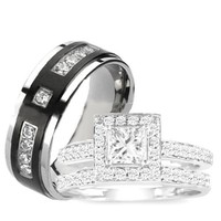 3 Pieces Men's Women's, His & Hers, 925 Sterling Silver & Titanium Engagement Wedding Ring Set