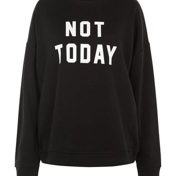 Black Not Today Print Sweater