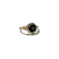 Princess Cocktail Ring With Faceted Round Black Onyx