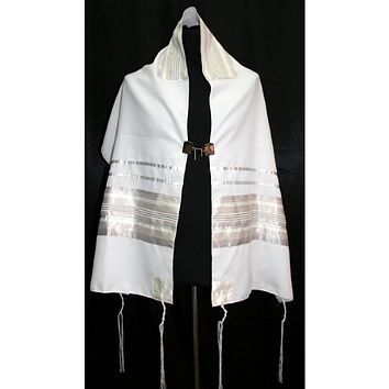 Light Grey Silver Tallit Prayer Shawl