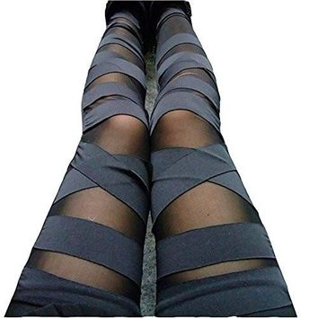 Women Girls Leggings Sexy Solid Color Bandage Mesh Leggings, Black, One Size