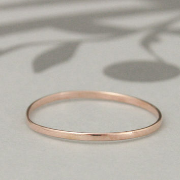 Thin Rose, Yellow or White Gold Band--Solid 14K Super Skinny Minnie Plain Jane Stacking Ring or Thin Wedding Band--Your choice of Gold Color