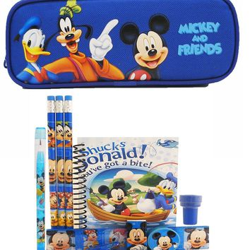 Disney Mickey and Friends Pencil Case with Stationery Set