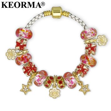 KEORMA Gold Color Star & Flower Charm String Leather Braclet with Gold Color Snap Clasp Chain Bracelet & Bangles for Women Gift