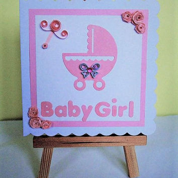 Baby girl card, new baby card, quilled card, new baby girl, baby girl, new baby girl card, baby card, handmade card, greeting card, new baby