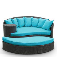 Taiji Outdoor Wicker Patio Daybed with Ottoman Espresso / Turquoise