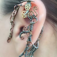 Copper and Gears Steampunk Wire Wrap Ear Wrap