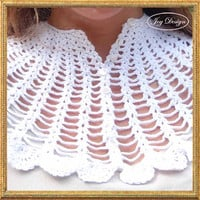 Vintage (c 1950s) Crocheted Collar / Capelet in Crisp White with 8 Tiny Pearly buttons for Bridal or Every Day Luxury