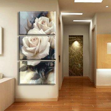 Modular Canvas HD Printed Pictures Wall Art Framework 3 Pieces Luxury Rose Flowers Paintings For Living Room Home Decor Poster