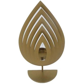 Traditional Style Metal Tealight Candle Holder, Gold, Small