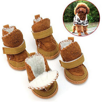 Pet Puppy Dog Chihuahua Shoes Boot Warm Winter Collie Boots Clothe Apparel 3C
