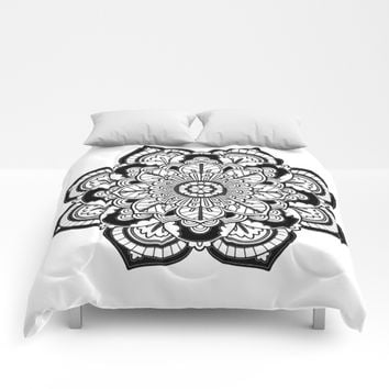 Black and White Flower Comforters by Azima
