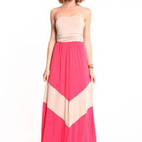 TWO TONE CHEVRON MAXI DRESS