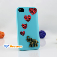 Elephant love iphone 4 case iphone 5 caes bling rhinestone crystal iPhone4 case iPhone5 case iphone 4s case custom iphone case