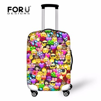 "FORUDESIGNS Cute Emoji Printing Suitcase Protector Cover Travel Anti-Scratch Elastic Luggage Cover for 18""-28"" Trolley Suitcase"