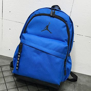 NIKE Jordan Fashion New People Print Women Men Travel Leisure Backpack Bag Blue