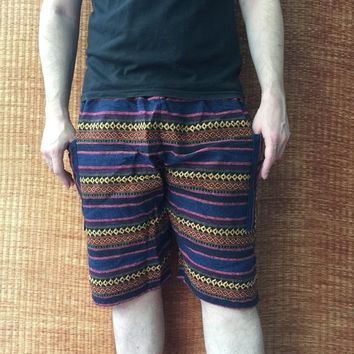 Aztec Woven Shorts Hippie Tribal festival Men women Clothing Burning man Boho Beach Summer Gift Vegan Hipster Bohemian Gypsy Napali Handmade