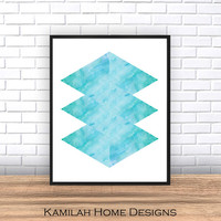 Minimalist print, Triangles print, Abstract print, Blue, Geometric print, Nordic style, Modern art, watercolor abstract
