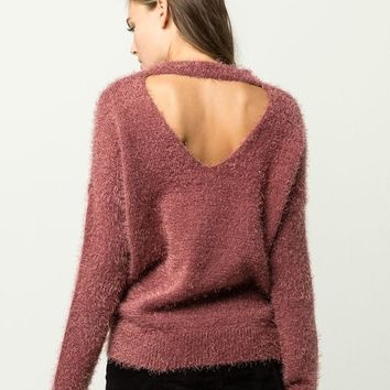 IVY & MAIN Furry Open Back Womens Sweater