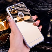 Gold Luxury Bling Mirror Case For Iphone 6 6S Plus 5.5 Clear TPU Edge Ultra Slim Flexible Soft Cover For Iphone6 6S 4.7inch