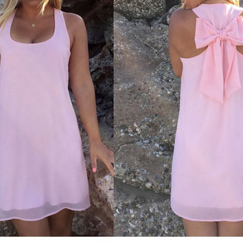 Chiffon summer style Back Bow dresses